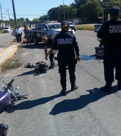 Choque de motos deja dos heridos en la carretera Chetumal-Subteniente López