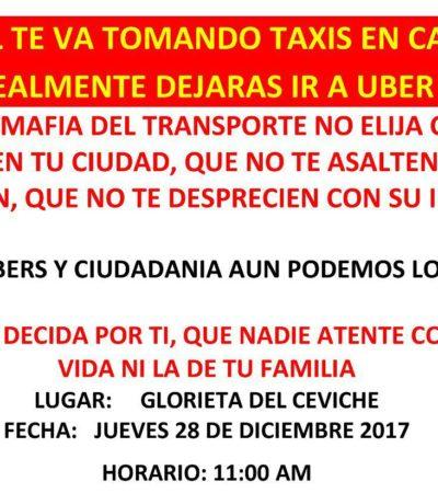Convocan a manifestarse a favor de Uber este jueves en Cancún
