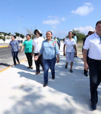 Mejoran movilidad urbana en Solidaridad; verifican pavimentación de la Avenida Chemuyil en Playa