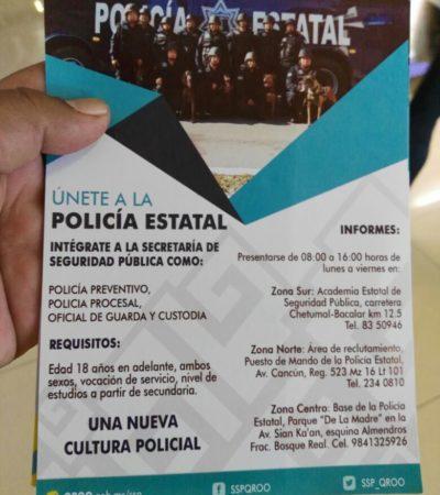 Con volanteo, reclutan para la Policía Estatal en Cancún