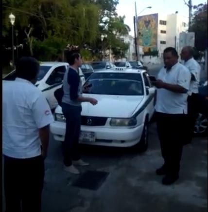 SIGUEN LAS AGRESIONES DE TAXISTAS POR EL TEMA DE UBER: Video evidencia usurpación de funciones de chafiretes en Cancún