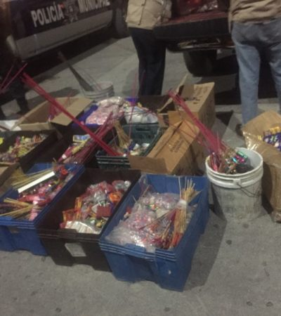 Descarada venta de pirotecnia en Cancún