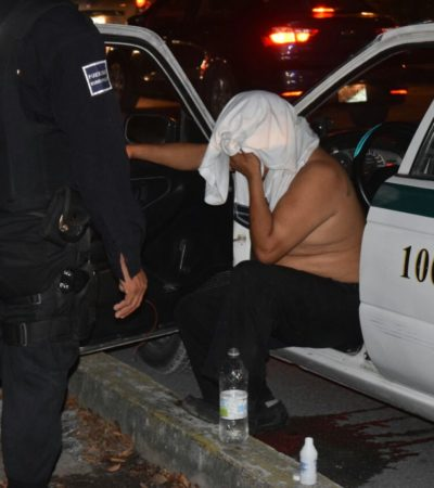 SE TOPÓ CON LA HORMA DE SU ZAPATO: Taxista se pone bravucón y conductor le da una paliza en Cancún