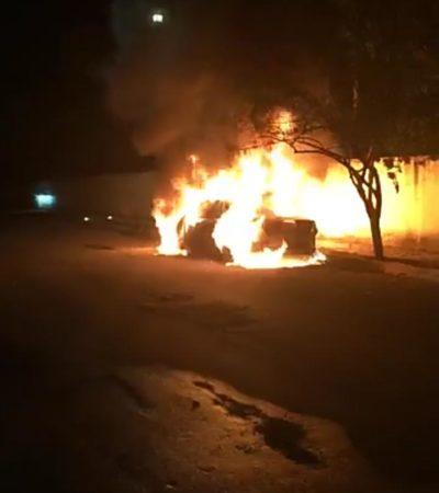 Se quema auto en fraccionamiento Galaxia I de Playa del Carmen