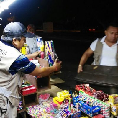 Decomisan 250 kilos de pirotecnia en operativos en Cancún