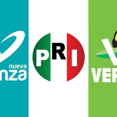 ASÍ SE REPARTEN EL PASTEL: Amarra PRI Distritos 01, 02 y 04; 03 para el Verde y primera fórmula del Senado para el Panal