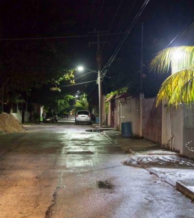 RENUEVAN LUMINARIAS EN PUERTO MORELOS: Inicia sustitución de focos tradicionales por lámparas LED en las colonia Zetina Gasga y 23 de Enero