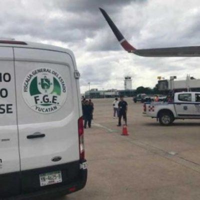 Aterriza de emergencia en aeropuerto de Mérida avión proveniente de El Salvador por pasajero que sufrió infarto; no sobrevivió
