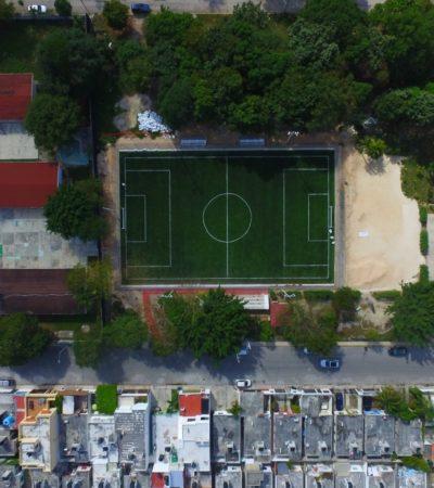 Inauguran cancha deportiva en la SM 518 con inversión de 3.8 mdp; en proceso 9 más, así como 10 domos deportivos en distintas regiones de Cancún