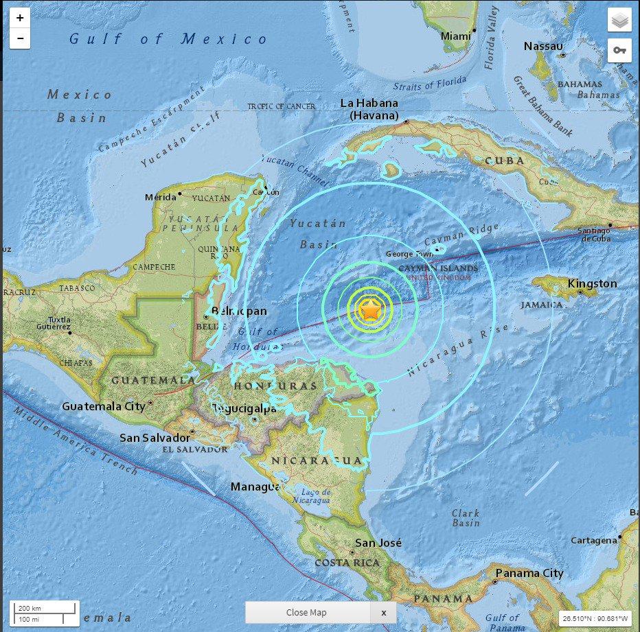 ACTUALIZACIÓN | TIEMBLA EN EL CARIBE MEXICANO: Reportan sismo de 7.5 grados Richter frente a costas de Honduras y se siente desde Chetumal a Cancún