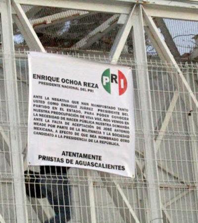 """""""QUE SEA NOMBRADO OTRO CANDIDATO"""": Quitar a Meade, exigencia de presuntos priistas en mantas"""