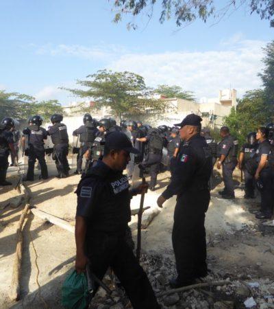 DESALOJAN A INVASORES DE PUERTO AVENTURAS: 15 detenidos y 30 desplazados de colonia irregular Las Palmas después de dos años y 8 meses de ocupación ilegal al sur de Playa