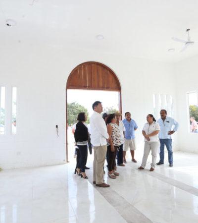 Inspeccionan avances de panteón municipal y biblioteca de Puerto Aventuras