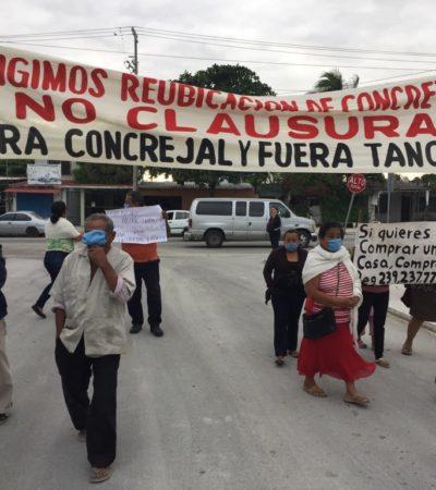 """""""YA NO QUEREMOS A NUESTRA FAMILIA ENFERMA"""": Nueva manifestación de vecinos contra concreteras en Cancún"""