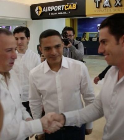QUE INVESTIGUEN A BORGE Y A SUS PRESTANOMBRES: Llega Meade a Cancún y dice que va contra los corruptos; lo recibe Remberto