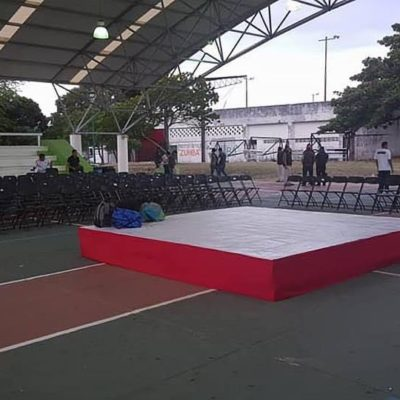 Por mitin político de Meade, desmantelan canchas de básquetbol del 'Toro Valenzuela'; la unidad deportiva permanece cerrada para deportistas desde las primeras horas de hoy