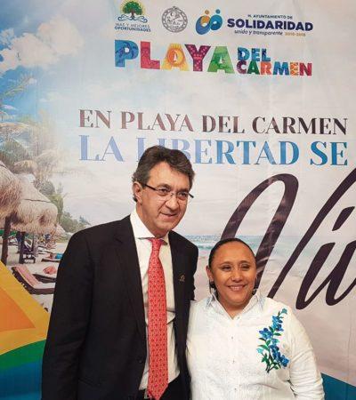 Se reúne Alcaldesa de Solidaridad con funcionarios españoles en la Fitur