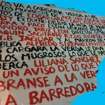 Con narcomanta amenazan a mandos policiacos de Puerto Morelos y se atribuyen ataque a familiares de policías que fueron ejecutadas en la Región 249 de Cancún
