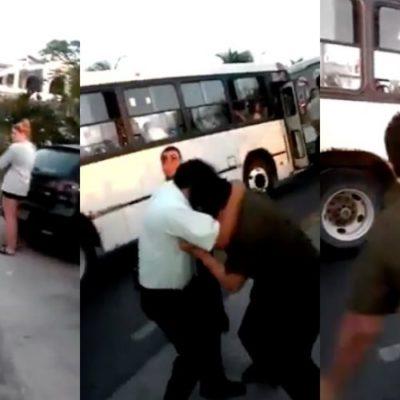 Choferes de camiones de Cancún pelean frente a turistas | VIDEO