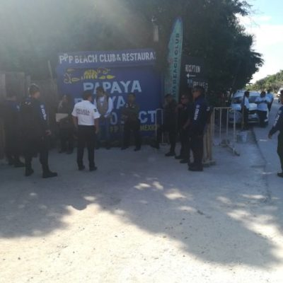 Clausura Profepa evento en playa del Hotel Papaya en Tulum