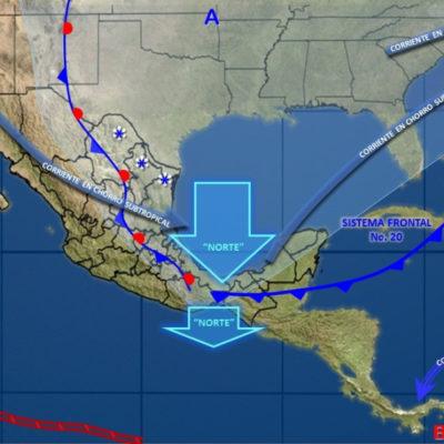 Lluvias y descenso de temperatura por llegada de frente frío a la Península de Yucatán