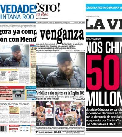LA CAPTURA DE MAURICIO EN LA PRENSA: Resquemor y desmemoria en las portadas de los periódicos de Quintana Roo