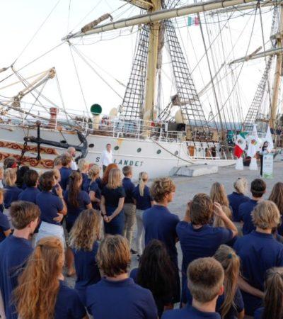 Puerto Morelos da la bienvenida a los estudiantes del buque escuela 'Sorlandet'