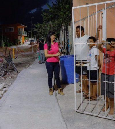 Supervisa Alcaldesa avances de pavimentación y construcción de banquetas y guarniciones en Puerto Morelos