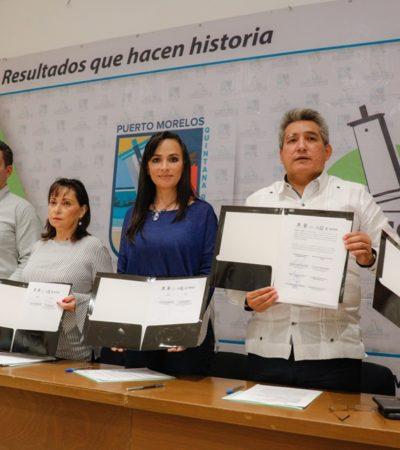 Firma Puerto Morelos convenio con la Secretaría del Trabajo y Previsión Social para implementar un programa de capacitación a empleadores y trabajadores