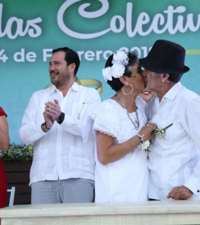 BODAS COLECTIVAS EN LA PLAZA DE LA REFORMA: Da Cancún certeza jurídica a 265 parejas