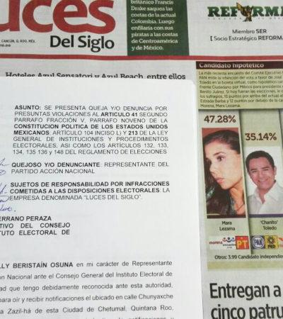 Se deslinda PAN de encuesta publicada por periódico en Cancún y presenta queja formal ante el Ieqroo