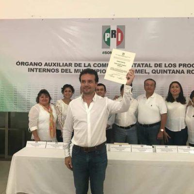 DE TRÁMITE: Entregan constancia a Pedro Joaquín como candidato del PRI en Cozumel