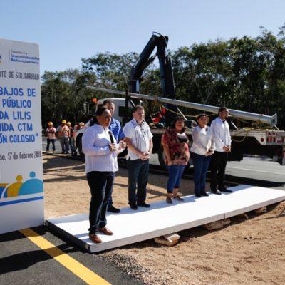 Inician colocación de alumbrado público en la Avenida Lilis en el tramo entre la avenida Luis Dolando Colosio a la CTM