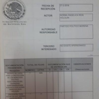 Impugna Norma Ríos candidatura de Laura Beristain por Morena en Solidaridad