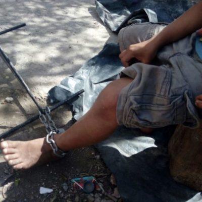 Liberan a tres niños encadenados de los pies en la SM 242