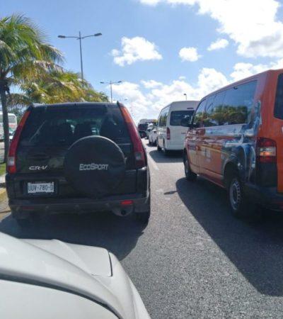 Salida de Cancún, con mucho tráfico