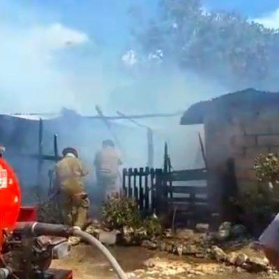 Consume incendio cuatro palapas en la Región 243 de Cancún