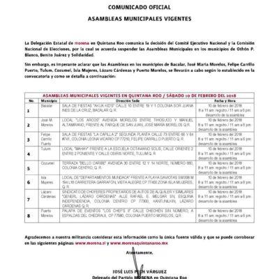 Confirma Morena cancelación de asambleas en los tres municipios más importantes de Quintana Roo