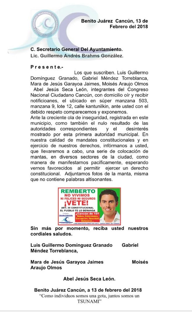 Pide permiso Congreso Nacional Ciudadano para colocar mantas contra Remberto Estrada por inseguridad pública