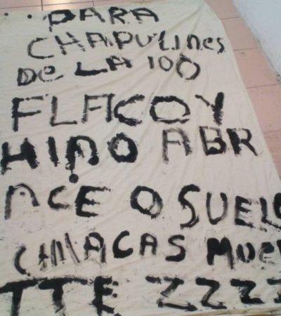 Dejan presunta narcomanta sobre la avenida López Portillo con amenazas contra 'chapulines' de la Región 100 de Cancún