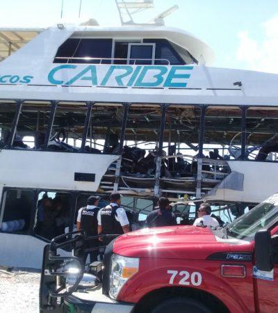 SUMAN 26 LOS HERIDOS POR EXPLOSIÓN: Estallido en embarcación de Barcos Caribe apunta a falla técnica, dice Carlos Joaquín; percance corresponde a autoridades federales, aclara Gobernador