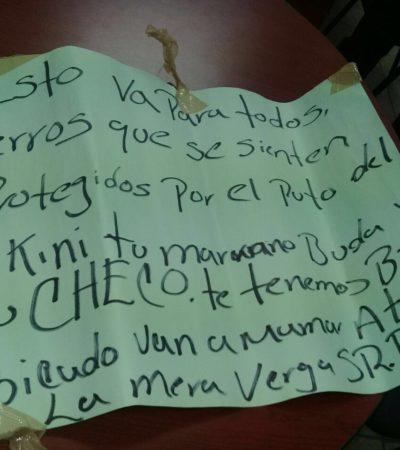 Aparece en la Región 102 'narco cartulina' con supuestas amenazas de 'La Barredora'