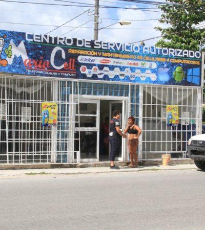Atracan dos hombres y dos mujeres negocio de celulares en la Región 228 de Cancún; un detenido