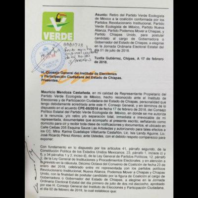 ABANDONAN EL BARCO DEL PRI EN CHIAPAS: El PVEM y dos partidos locales rompen alianza con el tricolor y el Panal