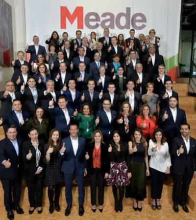 Sin militantes del PVEM y Panal, Meade presenta a los integrantes de su equipo de campaña