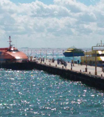 A pesar de alarmas, artefactos y 'warnings', opera con normalidad el cruce de barcos entre Playa y Cozumel