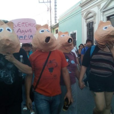 RECHAZAN PUERCO NEGOCIO EN YUCATÁN: Marchan en Mérida contra proyecto de planta porcícola en Homún
