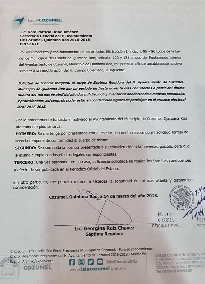 'Gina' Ruiz pide licencia al Cabildo de Cozumel; buscaría candidatura para un cargo de elección popular
