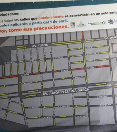 BUSCAN MEJORAR MOVILIDAD URBANA EN PUERTO MORELOS: A partir del 1 de abril cambia oficialmente el sentido de vialidades en las colonias Zetina Gasca y 23 de Enero