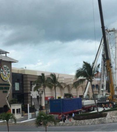 Retoman en Plaza La Isla construcción de polémica Rueda de la Fortuna de Cancún